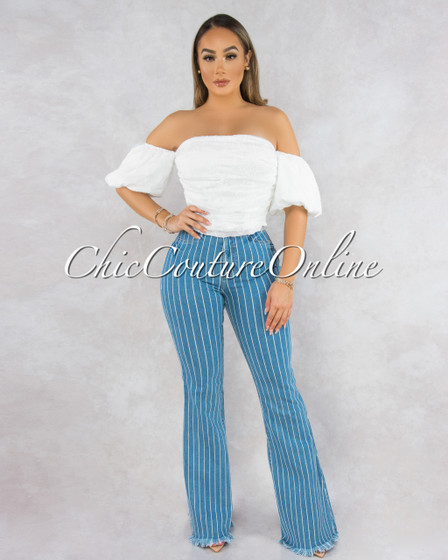 Peru Medium Denim Waist Stripes Bell Bottom Jeans