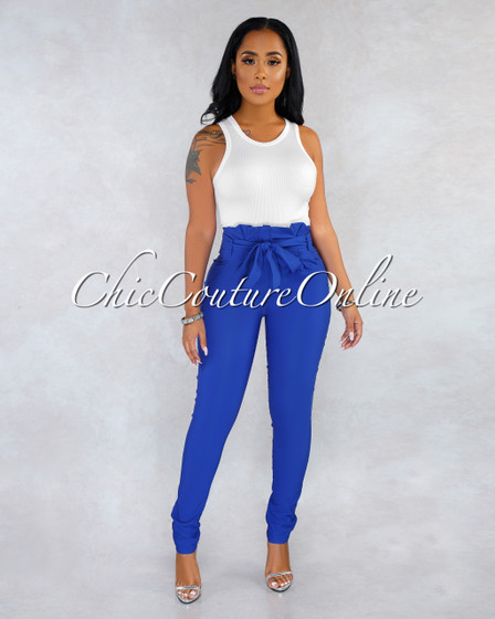 Raeanne Royal Blue Pleated Paper Bag Tie Belt Pants