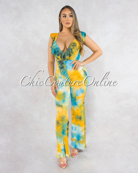 Papell Yellow Green Tie-Dye Ruffle Low Back Jumpsuit