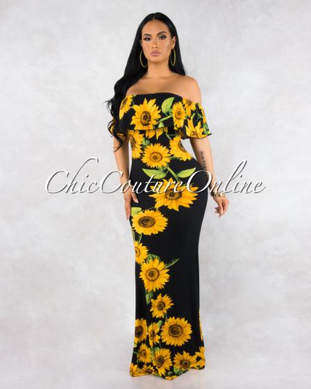 Abha Black Sunflower Print Off-The Shoulder Maxi Dress