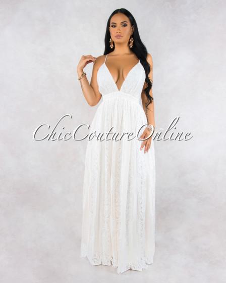 Nightingale Ivory Lace Halter Maxi Dress