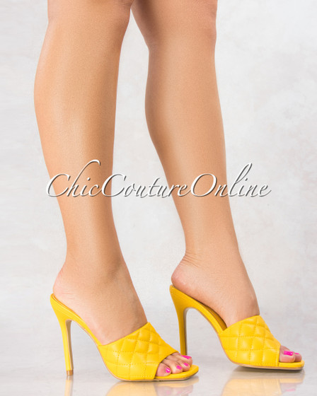 Stitch Yellow Quilted Upper Square Toe Heels