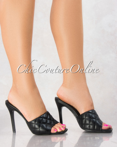 Stitch Black Quilted Upper Square Toe Heels