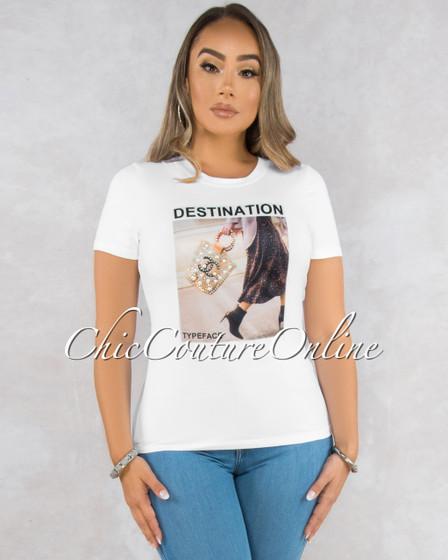 Destination White Front Graphic T-Shirt