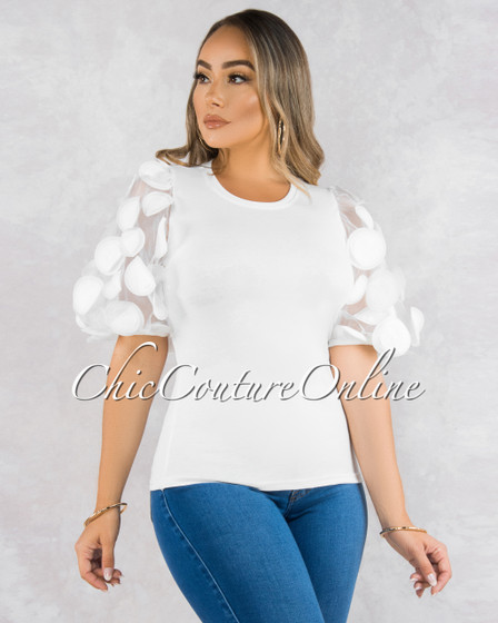 Tulipan Off-White Puffy Tulle Accent Sleeves Shirt