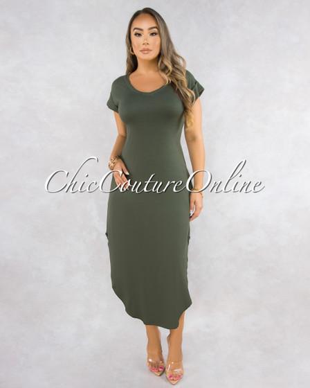 Casique Military Green Midi Shirt Dress