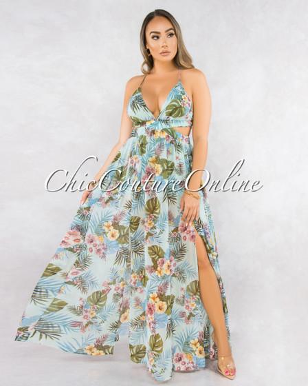Donna Mint Green Leaf Print Back Lace-Up Maxi Dress