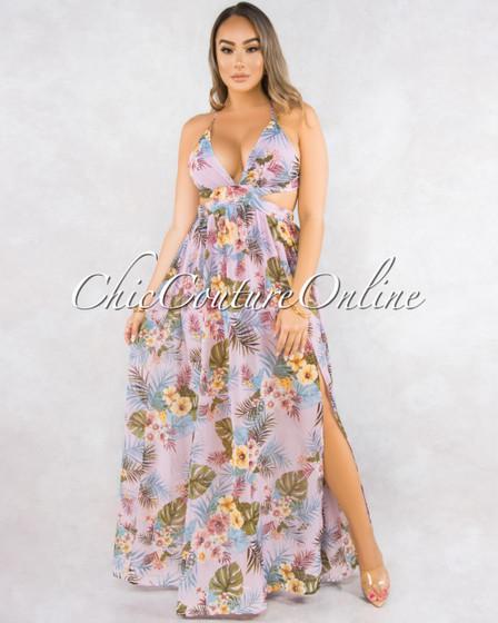 Donna Pink Leaf Print Back Lace-Up Maxi Dress