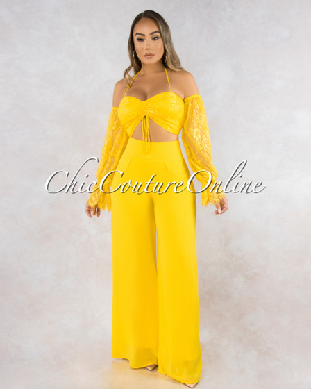 Varra Yellow Lace Ruched Top Wide Pants Set