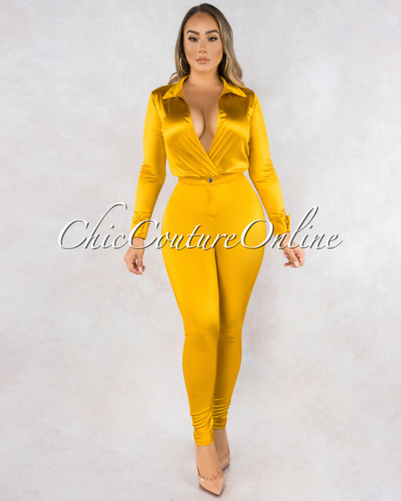 Monroe Gold Bodysuit Slim Pants Luxe Silky Set
