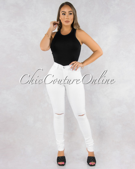 Kenya White Denim Cut-Out Knees Jeans