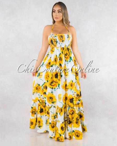 Neesa Sunflower Print Smocked Strappy Back Ruffle Dress