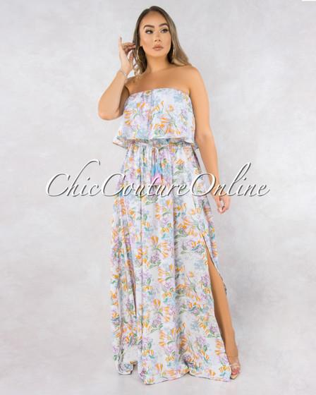 Chance White Lilac Multi-Color Floral Print Maxi Dress