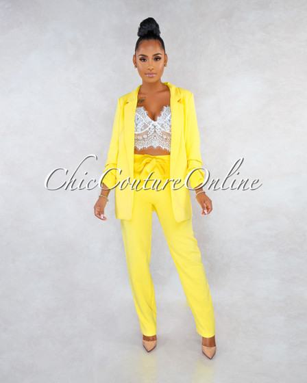 Lainey Yellow Double Breast Jacket Two Piece Set