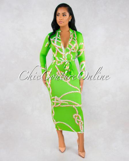 Verona Green Rope Print Gold Zipper Maxi Dress