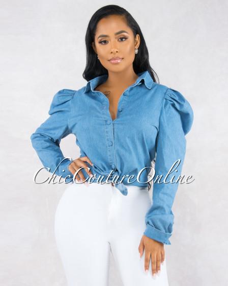 Sakina Denim Blue Puffy Long Sleeves Blouse