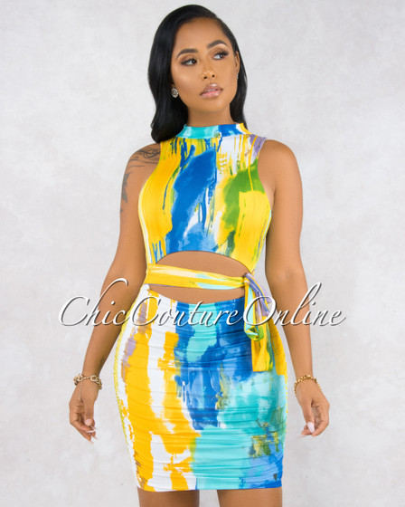 Xiomara Blue Yellow Multi-Color Print Open Back Dress