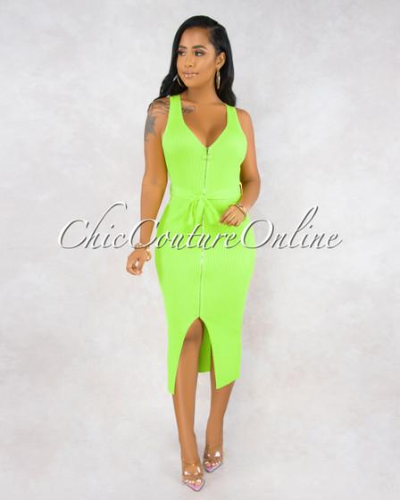 Narahi Neon Lime Front Zipper Midi Dress