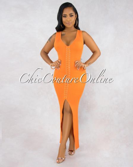 Rory Orange Ribbed Lace-Up Front Maxi Dress