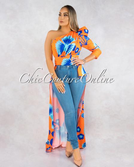 Evaluna Orange Blue Dramatic High-Low Single Shoulder Top