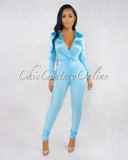 Monroe Baby Blue Bodysuit Slim Pants Luxe Silky Set