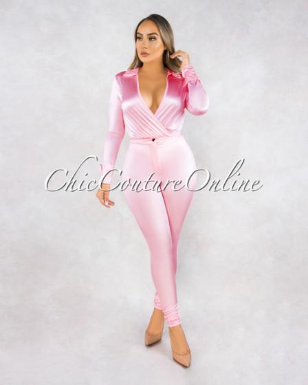 Monroe Baby Pink Bodysuit Slim Pants Luxe Silky Set