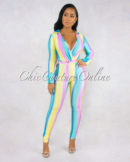 Gales Pastel Tones Stripes Bodysuit Slim Pants Silky Set