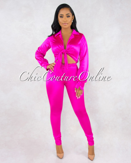 Senorita Hot Pink Cut-Out Front Bodysuit Pants Silky Set