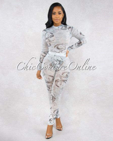 Dalis Grey Tattoo Sketch Print Mesh Two Piece Bodysuit Set