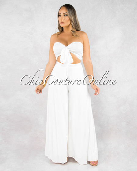 Shanay White Ruched Top Wide Pants Set