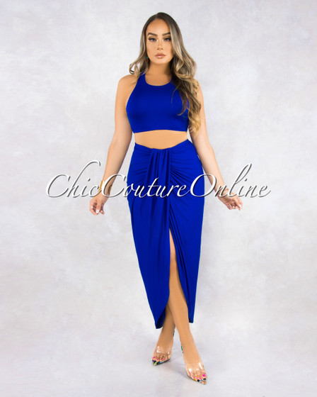 Valeriana Royal Blue Draped Two Piece Set