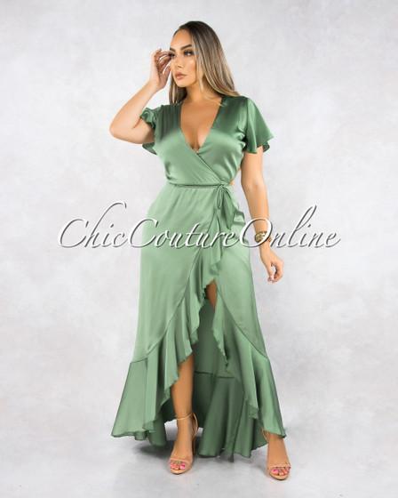 Malou Sage Green Wrap High Low Ruffle Dress