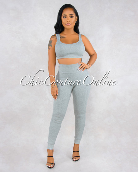 Ofelia Gray Ribbed Sporty Two Piece Set