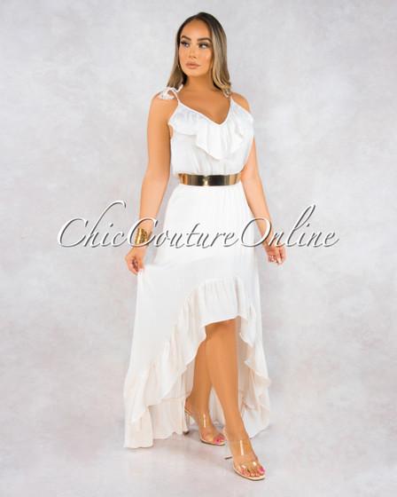 Rhetta Off-White Hi Low Maxi Dress