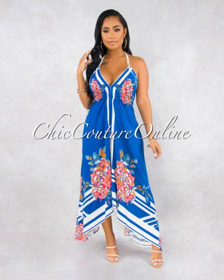 Karrie Blue Multi-Color Floral Print Hi Lo Maxi Dress