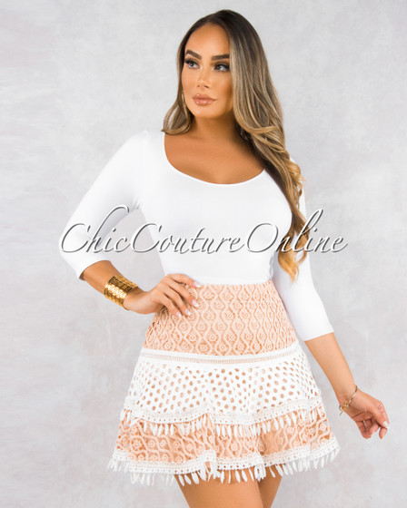 Artesia Blush White Crochet Skater Skirt