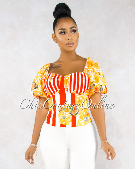 Wonda Yellow Floral Print Red Stripes Puffy Sleeves Blouse