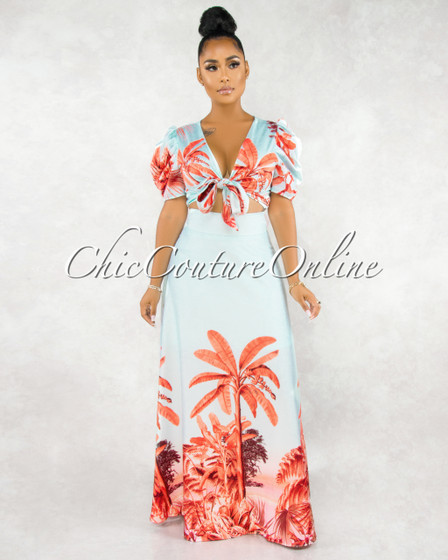 Surine Baby Blue Orange Palm Print Two Piece Skirt Set