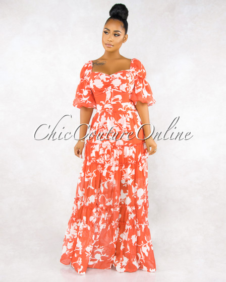 Mandalay Coral White Floral Print Puffy Sleeves Maxi Dress