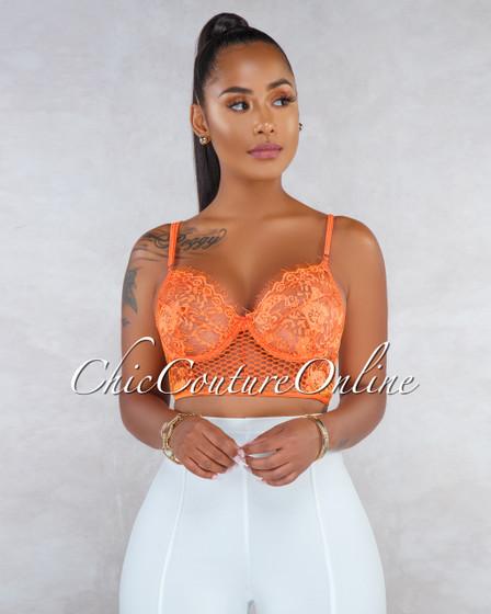 Marvelah Orange Lace Sheer Crop Bralette