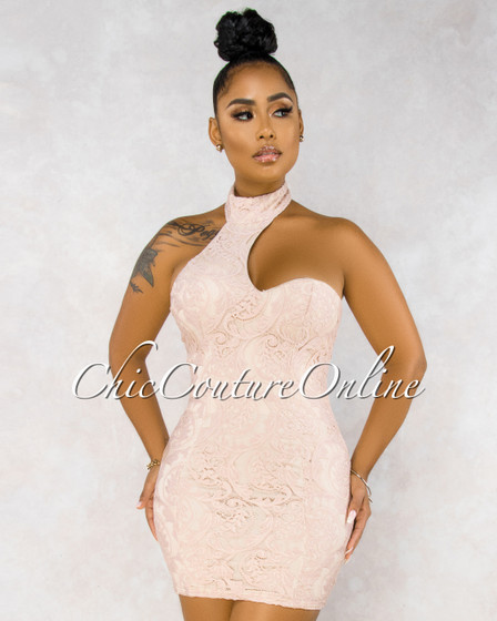 Zayda Blush Nude Lace Choker Mini Dress