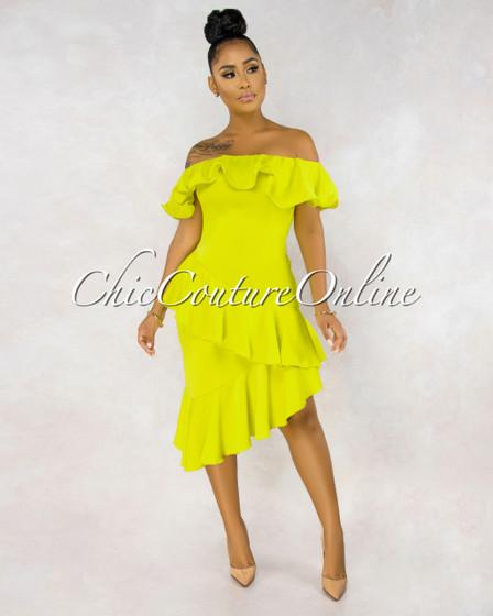 Alejandra Chartreuse Off-The-Shouder Ruffle Dress