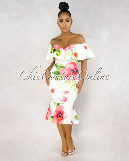Amaris Off-White Floral Print Off-The-Shoulder Dress