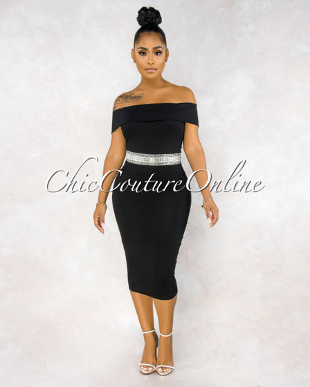 Selene Black Off The Shoulder Jeweled Waist Midi Dress