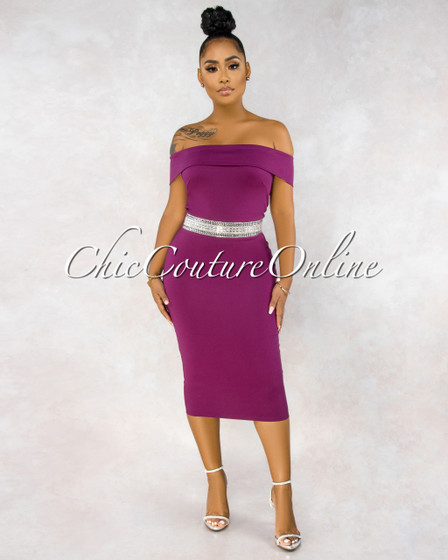 Selene Magenta Off The Shoulder Jeweled Waist Dress