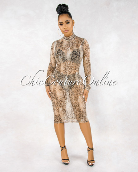 Carnell Snake Print Sheer Mesh Long Sleeves Dress