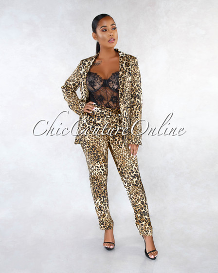 Caresse Leopard Print Silky Jacket Two Piece Suit Set