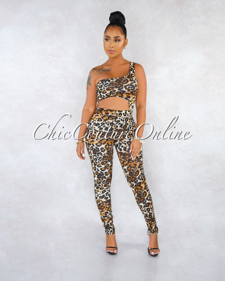 Jeanetta Leopard Print Cut-Out Two Piece Bodysuit Set