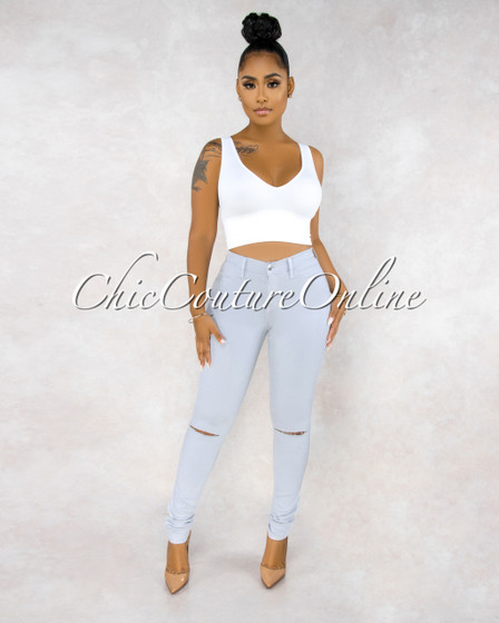 Kenya Silvery Blue Denim Cut-Out Knees Jeans
