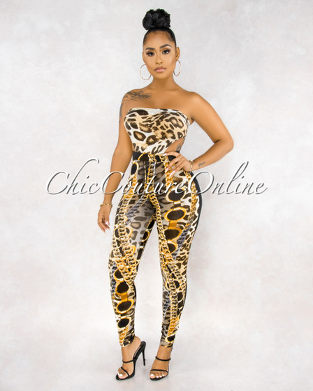 Vonda Leopard Print Two Piece Bodysuit Set